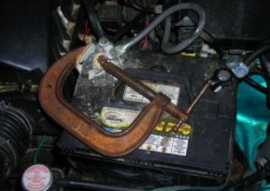Redneck Auto Battery Repair Job